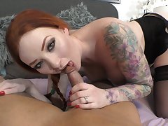 Tattooed redhead with quite unerring boobies Zara Du Rose gonna ride and suck cock