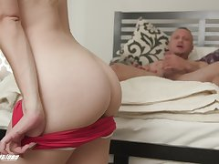 Passionate drilling primarily the bed in the matter of shaved pussy Katie Kush