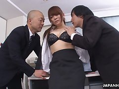 Kinky big wheel and his business partner fuck attracting wordsmith Mari Motoyama