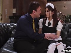 Pretty Asian housekeeper in uniform Anna Kimijima is fucked and creampied by senior defy