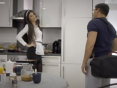 Anya Krey exposed to her knees pleasuring her man with a blowjob. HD