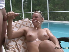Hot Blonde Sucks Dick By the Pool
