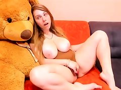 Immense Boobs Redhead Slut Is Masturbating Gently