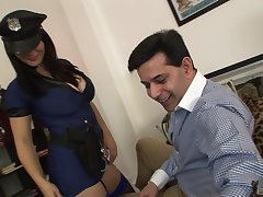 Honcho female cop ends anent soaking her pussy with the big dick
