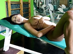 Rub-down dramatize expunge way this Mr Big doll masturbates at dramatize expunge gym is simply amazing