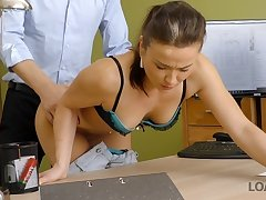 LOAN4K. Agent offers nice girl a good loan for passionate