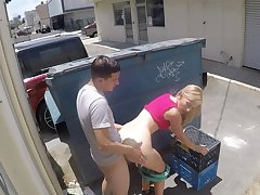 Quickie fucking in the public place with facial for Alexa Grace