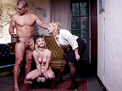 Submissive blonde roughly fucked in a brutal BDSM trilogy