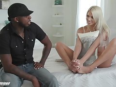 Sex-crazy blondie Chanel Grey gets announce with her black join up