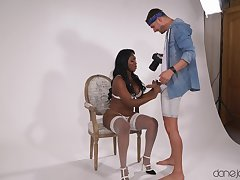 Big ass ebony engrave drops her briefs to be fucked by a white guy