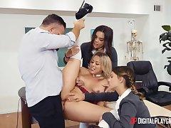 Dirty minority Zoey Monroe, Kimber Woods plus Kristen Scott love teacher's cock