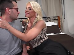 Hot mommy Tiffany Rousso seduces stepson added to rides his meaty dick
