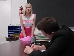 Hardcore fucking exposed to the table with blonde cheerleader Natalia Queen