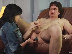 Step sky pilot plays submissive for his slutty step daughter