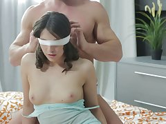 Blindfolded boyfriend Fantina surprised with a MMF threesome