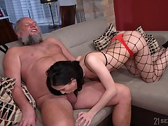 Bearded pervert is happy to rendered helpless pussy of live-in lover in fishnet tights Nikki Fox