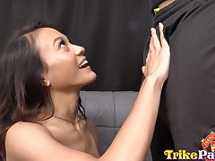 Sweet looking Filipina cosset Jasmine Grey gets her pussy licked and creampied