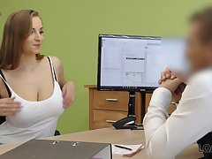 Student with D-cups boobs Suzie is ready for casual coitus to get a loan