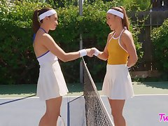 Tennis court soccer field Paige Owens and Liv Neglected hook up after a match