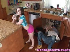 Seductive teen doggystyled until facial