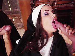 Nun spins two big dicks connected with perfect charm
