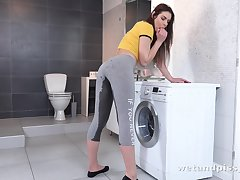 Pissing bitch Jessica Bell does laundry and masturbates as well