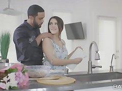 Interracial fucking prevalent the kitchen with natural boobs Valentina Nappi