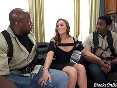 Two black guys fucks white chick nearly plump nuisance Febby Twigs