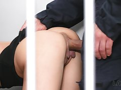 The hold water cage is filled with obstreperous moans as Nicole Love is fucked doggy hard