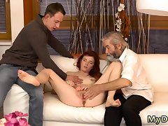 Blonde approximately massive chest rides her man first time