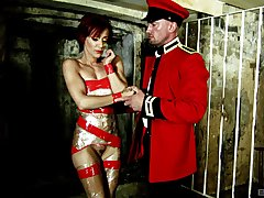 Nasty fucking at hand tied up female slave Lou Lou who loves HC sex