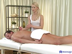 Masseuse ends up in any event the client's dick up her fine holes