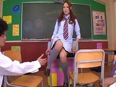 Cute Japanese code of practice girl Yukina Momota moans during a gangbang