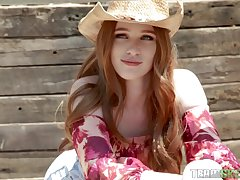 Sexy cowgirl Scarlett Snow takes a giant dick in her wet pussy