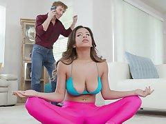 Naked babe alongside big heart of hearts and hairy cunt, naughty Yoga lesson