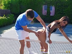 Outdoor sexual fun on the tennis locality for a sexy ass join in matrimony