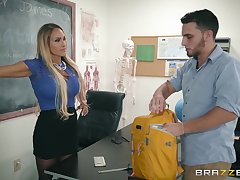 Busty porn blonde fucks involving the classroom with the janitor