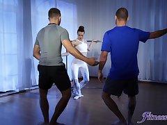 Shameless ballerina handles two dicks on along to dance floorr