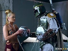 Storm Trooper has a blast with leashed blondie Abby Unfavourable
