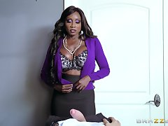 Ebony MILF uses her skills more devour massive white penis