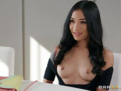Brunette angel shows wanting with one large dong hitting her from all angles