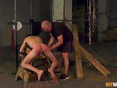 Twink endures old man's cock in improper BDSM cam play