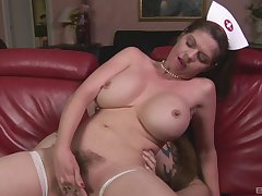Closeup video of mature take charge of June Summers pleasuring her man