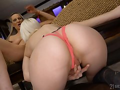 Hot lesbian women in mutual oral sexual congress at one's fingertips home