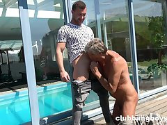 Mature man sucks young gay man's dick in dear modes