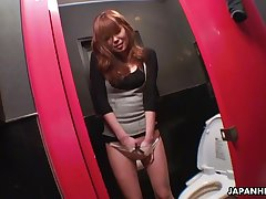 Sedentary on the toilet spin Japanese sheila Yuno Hoshi masturbates herself