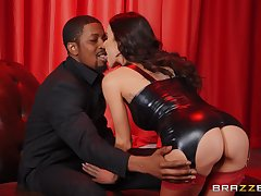 Interracial sex ends there cum in mouth for concupiscent Gia Dimarco