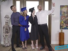 Hardcore foursome sex with graduate students Remi Jones coupled with her best girlfriend