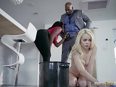 Needy young blonde shares a BBc with her black stepmom