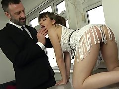 Get under one's dick suits her tiny holes in a fully dominant anal off guard